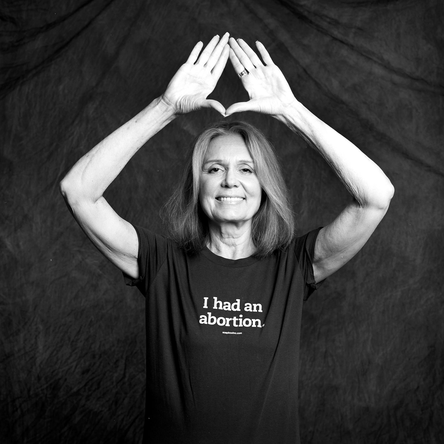 Gloria Steinem, 71 (at the time the photo was taken), entered the feminist movement the day she covered Red Stockings abortion speak-out for New York magazine, and finally owned the abortion she had had several years earlier. She describes her abortion as the first time she acted in her own life, rather than let things happen to her. She had her abortion when she was 22. Gloria went on to found several pro-choice organizations, including Voters for Choice and Ms. Magazine and considers reproductive freedom to be the most significant contribution of the 2nd wave feminism.